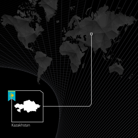 Kazakhstan on black World Map. Map and flag of Kazakhstan. 일러스트