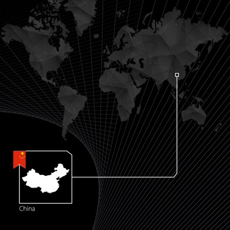China on black World Map. Map and flag of China. Illustration