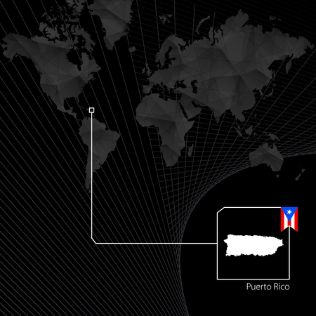 Puerto Rico on black World Map. Map and flag of Puerto Rico.