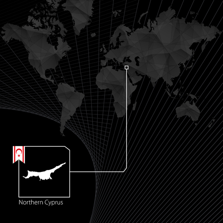 Northern Cyprus on black World Map. Map and flag of Northern Cyprus. Vector illustration.