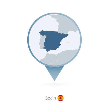 map pin with detailed map of spain and neighboring countries