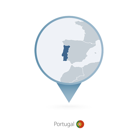 Map pin with detailed map of Portugal and neighboring countries. Illustration