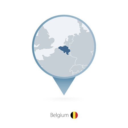 Map pin with detailed map of Belgium and neighboring countries. Illustration