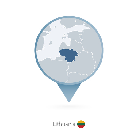 Map pin with detailed map of Lithuania and neighboring countries. Illustration