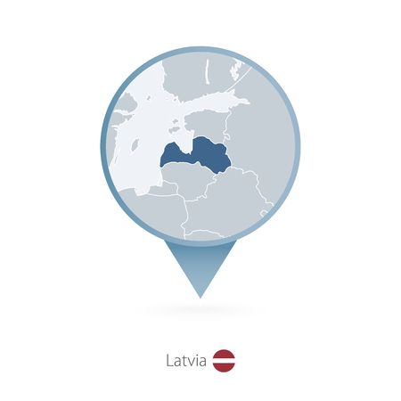 Map pin with detailed map of Latvia and neighboring countries.