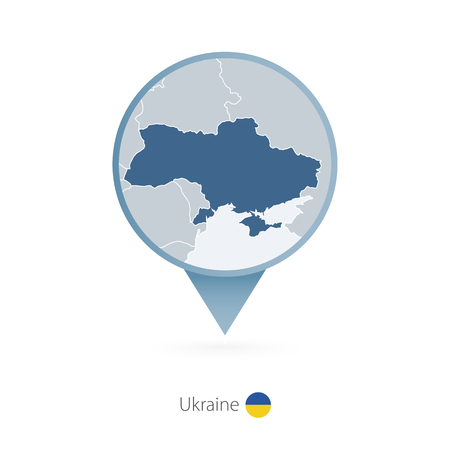 Map pin with detailed map of Ukraine and neighboring countries.