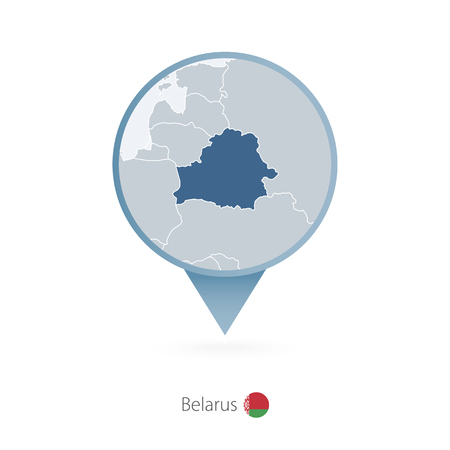 Map pin with detailed map of Belarus and neighboring countries. Illustration