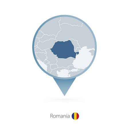 Map pin with detailed map of Romania and neighboring countries.
