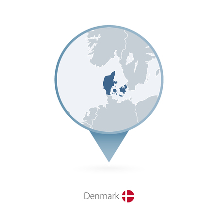Map pin with detailed map of Denmark and neighboring countries.