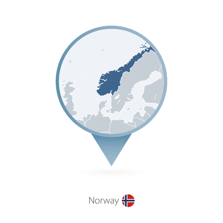 Map pin with detailed map of Norway and neighboring countries. Illustration