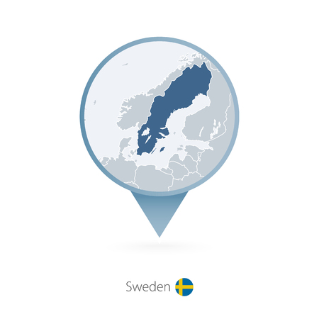 Map pin with detailed map of Sweden and neighboring countries.