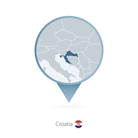 Map pin with detailed map of Croatia and neighboring countries.