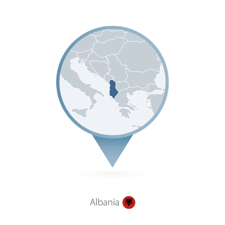 Map pin with detailed map of Albania and neighboring countries.