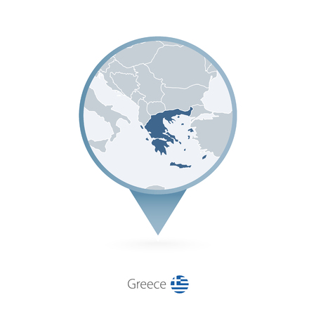 Map pin with detailed map of Greece and neighboring countries.