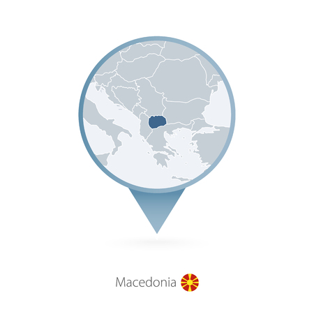 Map pin with detailed map of Macedonia and neighboring countries.