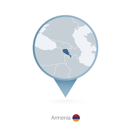 Map pin with detailed map of Armenia and neighboring countries. Stock Vector - 96396093