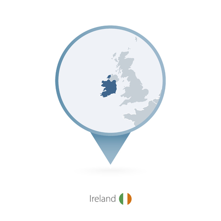 Map pin with detailed map of Ireland and neighboring countries.