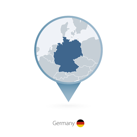 Map pin with detailed map of Germany and neighboring countries.