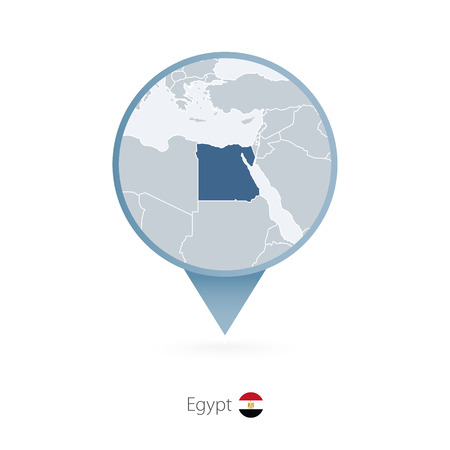Map pin with detailed map of Egypt and neighboring countries. Illustration
