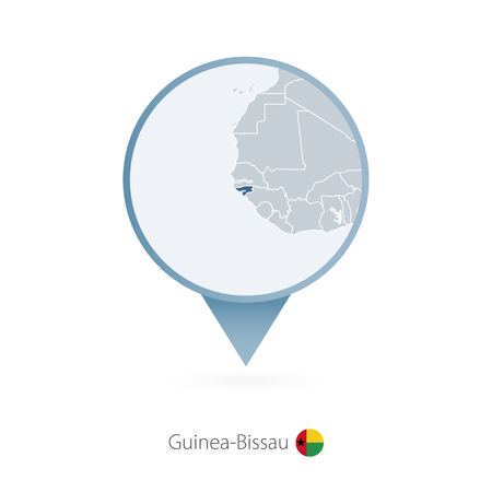 Map pin with detailed map of Guinea-Bissau and neighboring countries.