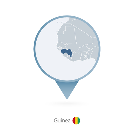 Map pin with detailed map of Guinea and neighboring countries.