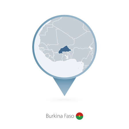 Map pin with detailed map of Burkina Faso and neighboring countries.