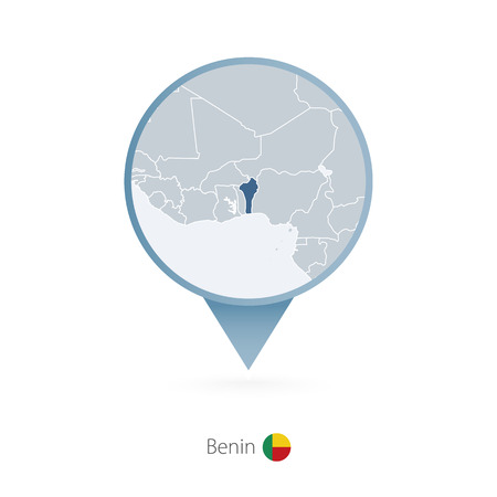 Map pin with detailed map of Benin and neighboring countries. Illustration