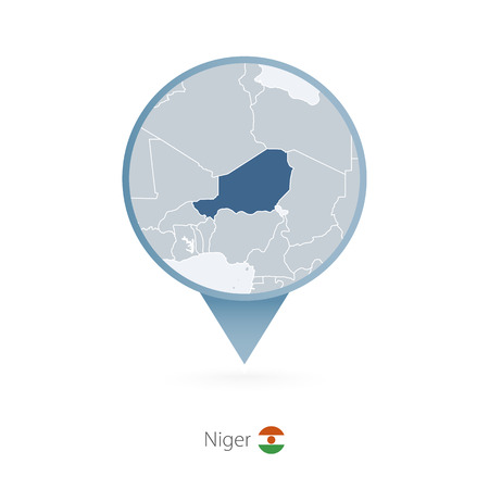 Map pin with detailed map of Niger and neighboring countries. Illustration