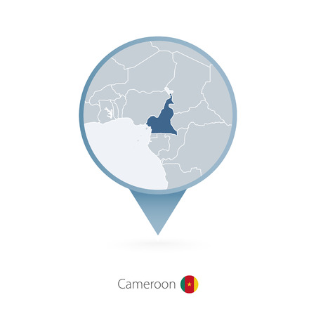 Map pin with detailed map of Cameroon and neighboring countries.