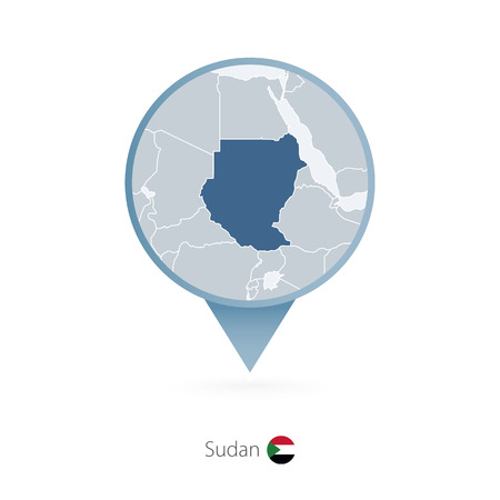 Map pin with detailed map of Sudan and neighboring countries. Illustration