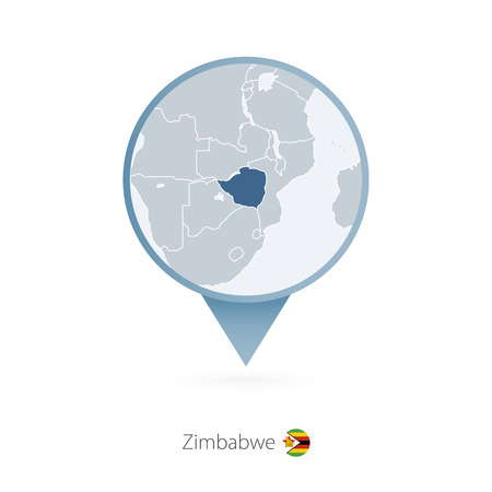 Map pin with detailed map of Zimbabwe and neighboring countries.