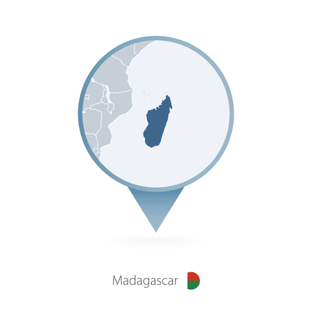 Map pin with detailed map of Madagascar and neighboring countries.