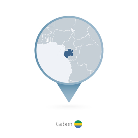 Map pin with detailed map of Gabon and neighboring countries.
