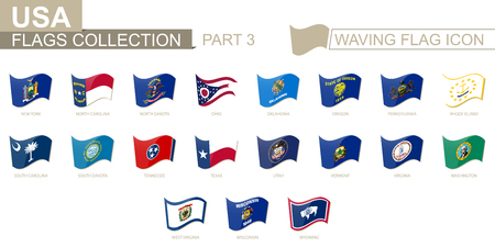 Waving flag icon, flags of the US states sorted alphabetically, from New York state to Wyoming. Vector illustration. 矢量图像