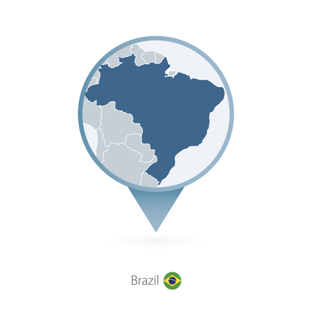 Map pin with detailed map of Brazil and neighboring countries. Vector illustration. Illustration