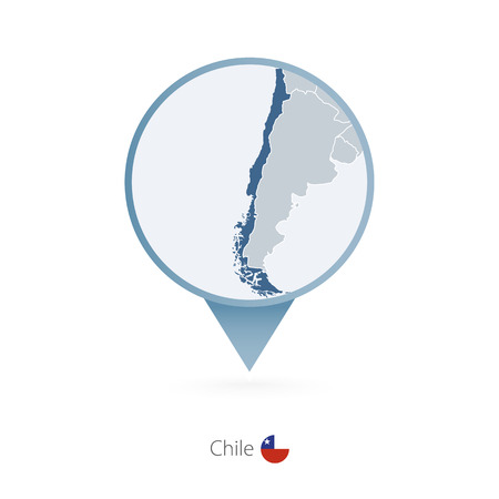 Map pin with detailed map of Chile and neighboring countries. Vector illustration.