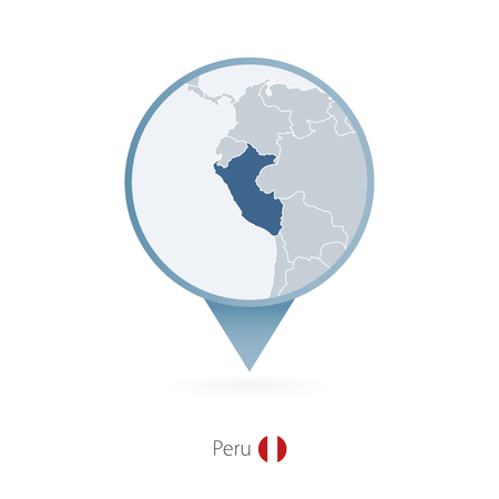 Map pin with detailed map of Peru and neighboring countries. Vector illustration. Illustration