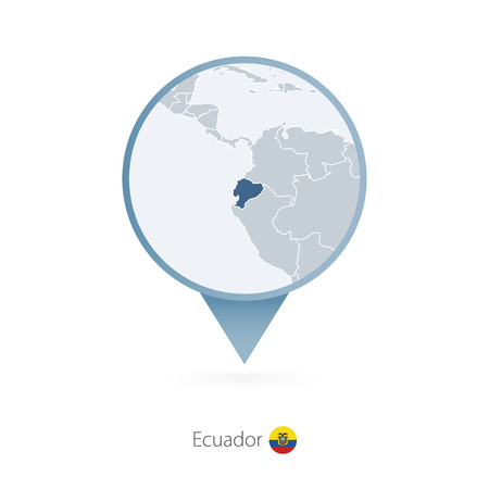 Map pin with detailed map of Ecuador and neighboring countries. Vector illustration.