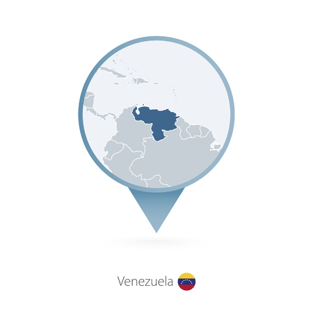 Map pin with detailed map of Venezuela and neighboring countries. Vector illustration.