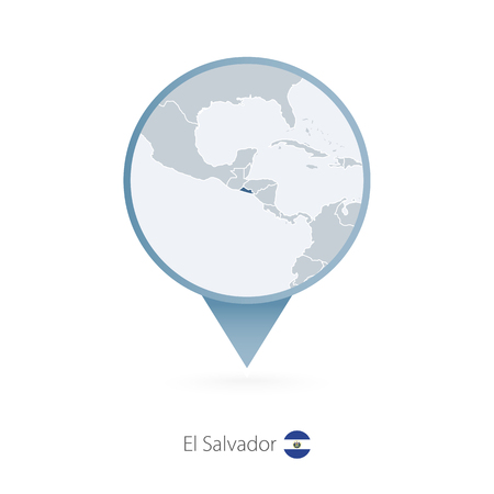 Map pin with detailed map of El Salvador and neighboring countries. Vector illustration.  イラスト・ベクター素材