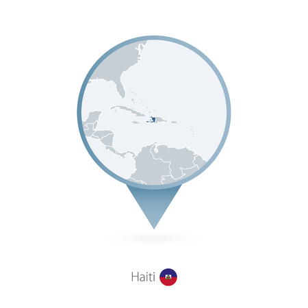 Map pin with detailed map of Haiti and neighboring countries. Vector illustration. Stock Illustratie