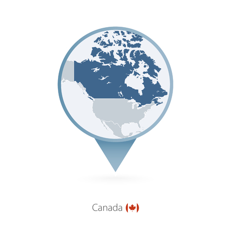 Map pin with detailed map of Canada and neighboring countries. Illustration