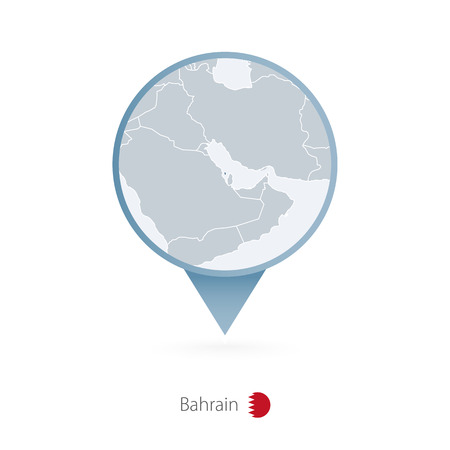 Map pin with detailed map of Bahrain and neighboring countries. Illustration