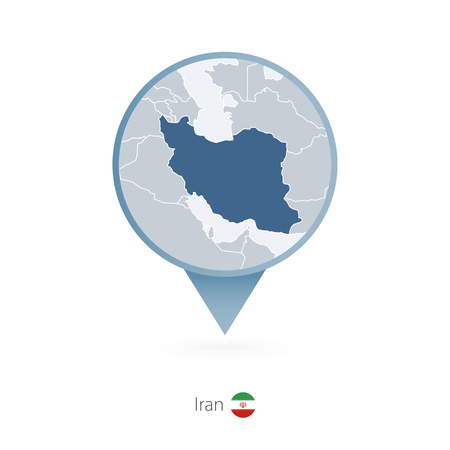 Map pin with detailed map of Iran and neighboring countries. Illustration