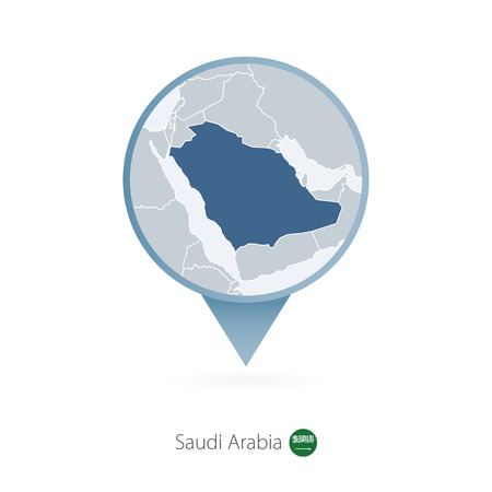 Map pin with detailed map of Saudi Arabia and neighboring countries.