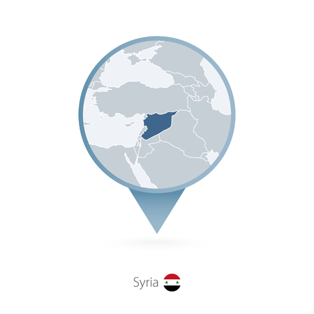 Map pin with detailed map of Syria and neighboring countries.