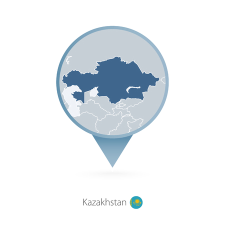 Map pin with detailed map of Kazakhstan and neighboring countries. Illustration