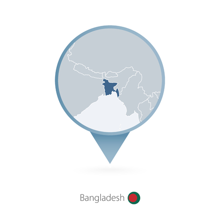 Map pin with detailed map of Bangladesh and neighboring countries.