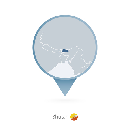 Map pin with detailed map of Bhutan and neighboring countries.