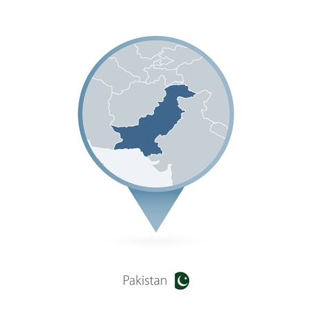Map pin with detailed map of Pakistan and neighboring countries. Stock Vector - 97025352